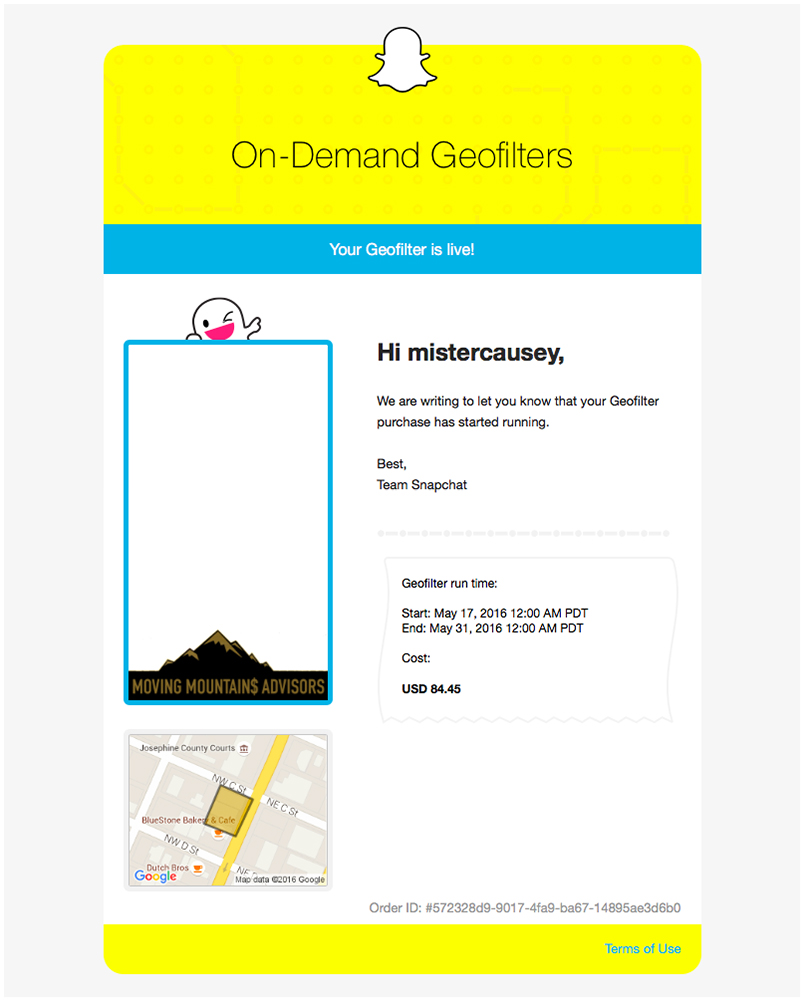 Snapchat Geofilter - Email Its Alive - Moving Mountains Advisors