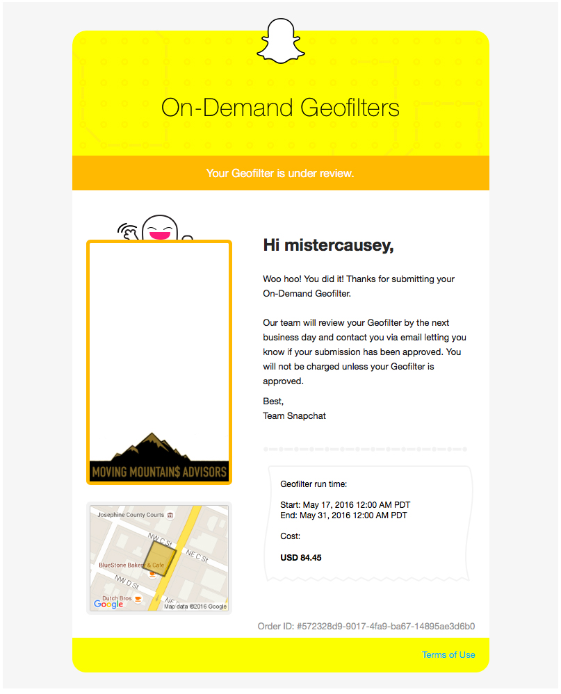 Snapchat Geofilter - Email Under Review - Moving Mountains Advisors